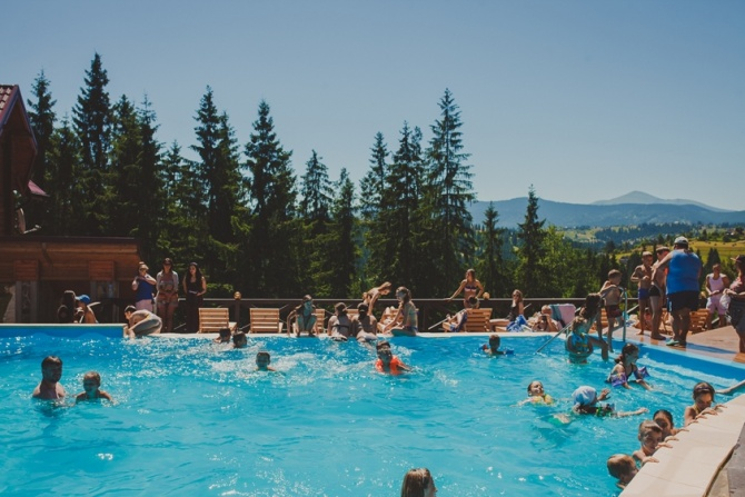 Pool overlooking the Carpathian mountains!